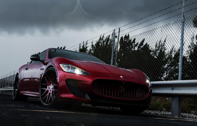 Photo wallpaper Maserati, Auto, The fence, Trees, Tuning, Clouds, Machine, GranTurismo, Drives