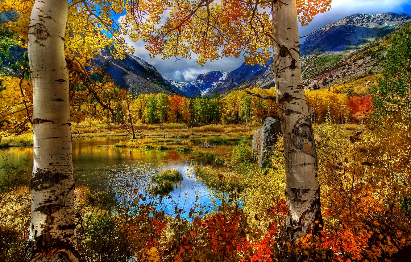 Photo wallpaper autumn, the sky, grass, leaves, landscape, mountains, nature, lake, Trees, the clouds