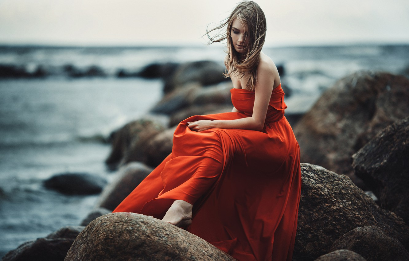 Photo wallpaper Girl, Light, Red, Nature, Clouds, Sky, Beautiful, Model, Blue, Beach, Water, White, Female, Beauty, View, …