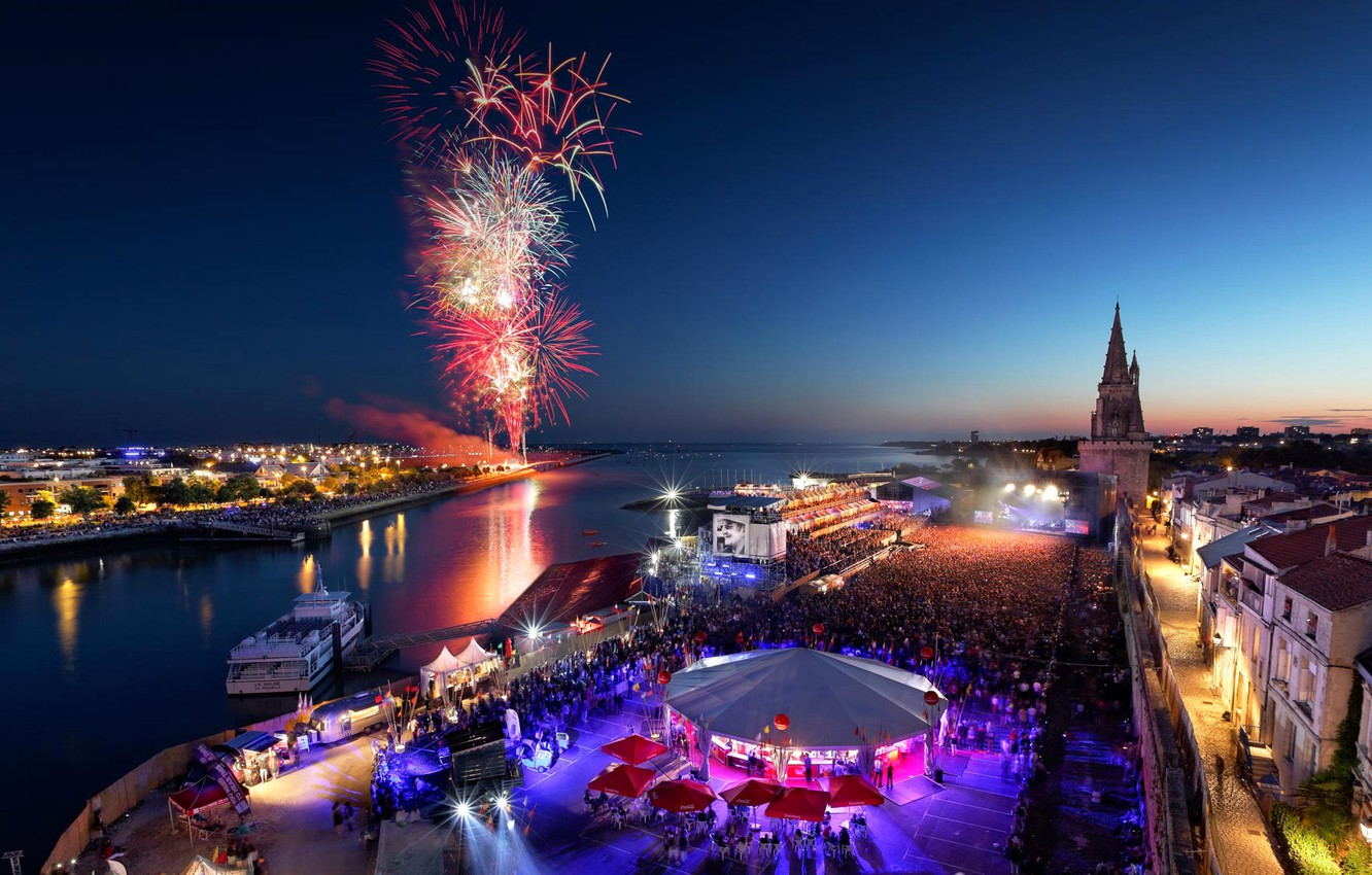 Photo wallpaper night, France, salute, fireworks, La Rochelle, Poitou-Charentes, Independence Day