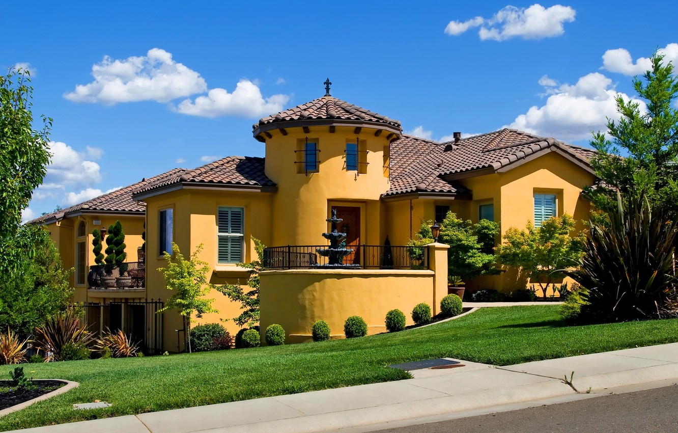 Photo wallpaper design, the city, house, photo, lawn, mansion, the bushes