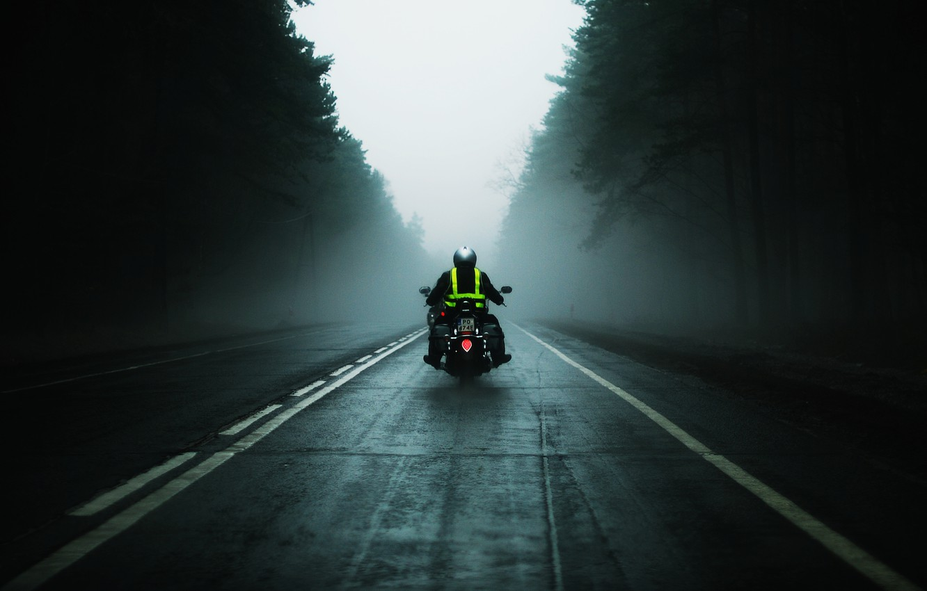 Photo wallpaper road, fog, the way, mediocrity, motorcycles, mood, speed, motorcycle, driver, bike, mood