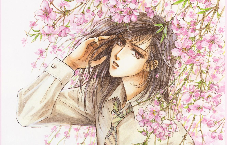 Photo wallpaper Sakura, tie, shirt, guy, manga, flowering, long hair, art, sight, Mamiya Oki, Platonic Dance