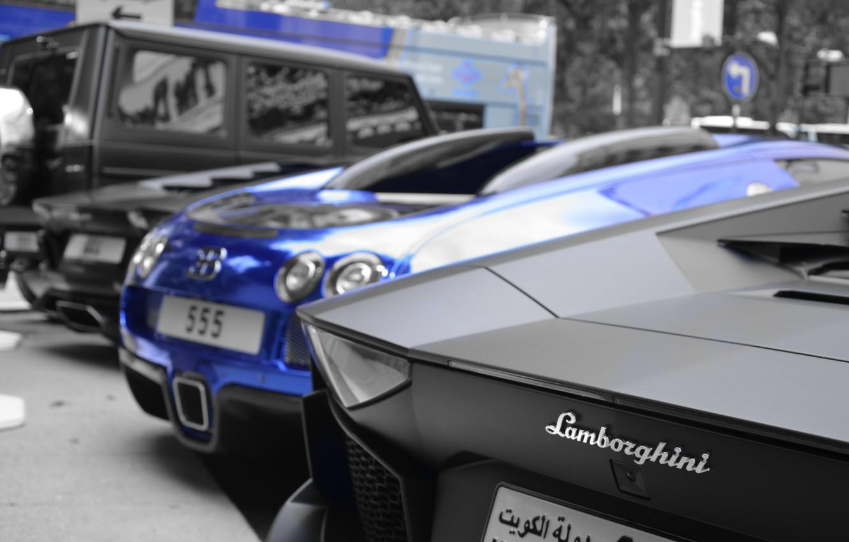Photo wallpaper blue, black, Lamborghini, Bugatti, jeep, Parking, Mercedes, Veyron, supercar, Bugatti, chrome, Mercedes, Lamborghini, AMG, Black, …