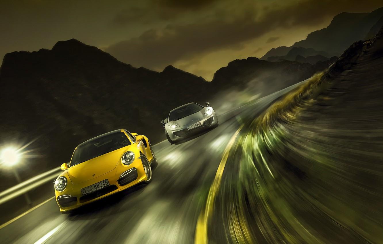 Photo wallpaper race, speed, Porsche 911 turbo, mclaren mp4-12 spyder