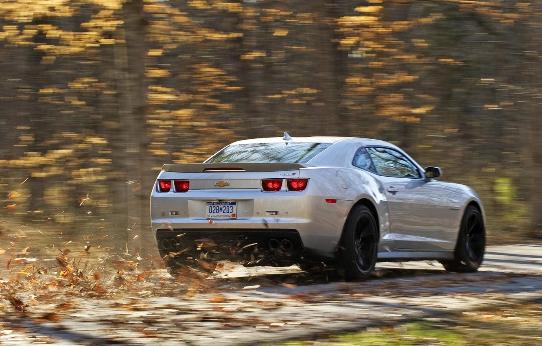Photo wallpaper road, autumn, leaves, speed, silver, Chevrolet, camaro, rear view, chevrolet, road, autumn, silvery, zl1, Camaro …