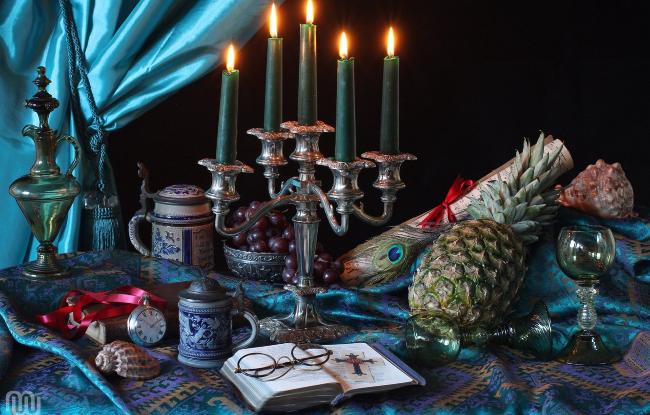 Photo wallpaper pen, watch, candles, glasses, glasses, grapes, Cup, shell, pitcher, pineapple, still life