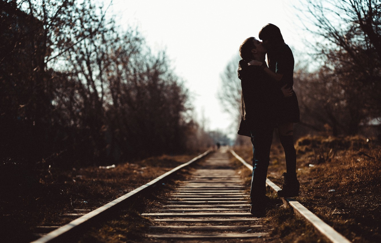 Photo wallpaper girl, love, rails, kiss, spring, guy