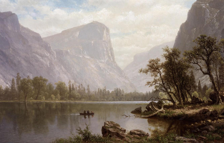 Photo wallpaper picture, painting, Yosemite Valley, painting, 1864, Albert Bierstadt, Mirror Lake