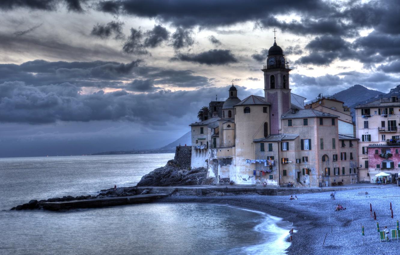 Photo wallpaper sea, clouds, overcast, coast, home, pier, Italy, Camolgi