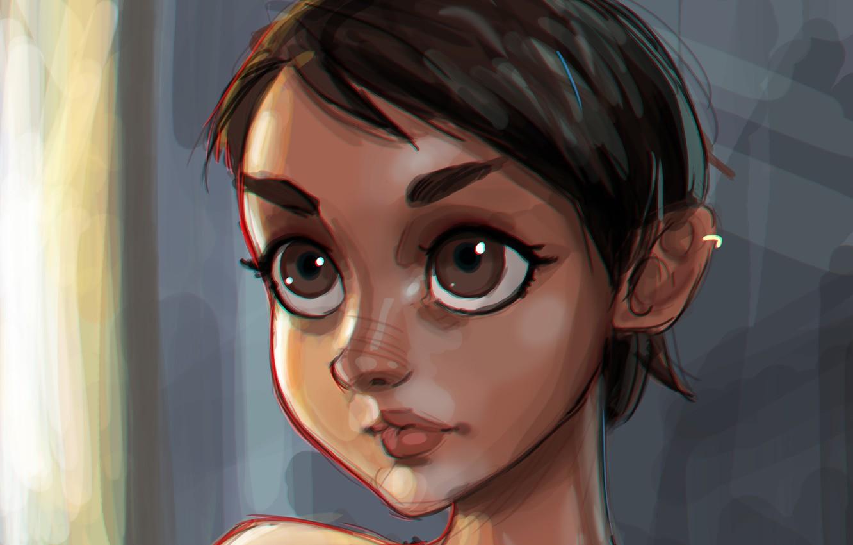 Photo wallpaper eyes, look, girl, face, hair, hairstyle, art