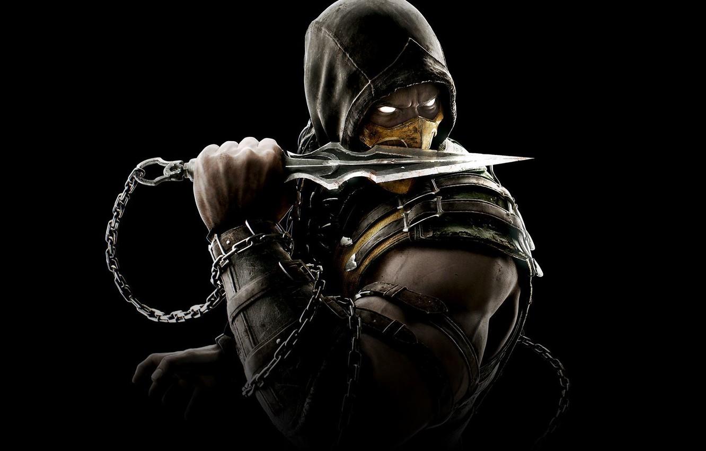 Photo wallpaper Look, Black, Mask, Ninja, Scorpio, Hood, Kunai, Equipment, Warner Bros. Interactive Entertainment, NetherRealm Studios, Mortal …