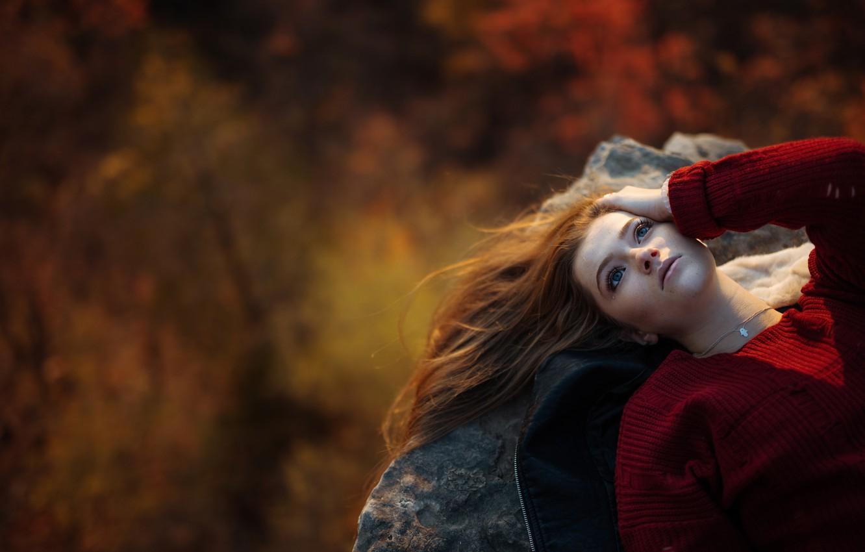 Photo wallpaper girl, stone, height, tear, Jesse Duke, Ailish