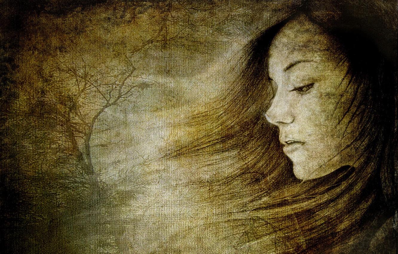 Photo wallpaper girl, portrait, texture