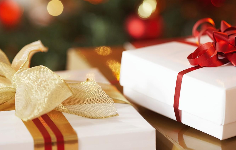 Photo wallpaper holiday, new year, gifts, white, bows, ribbons, box