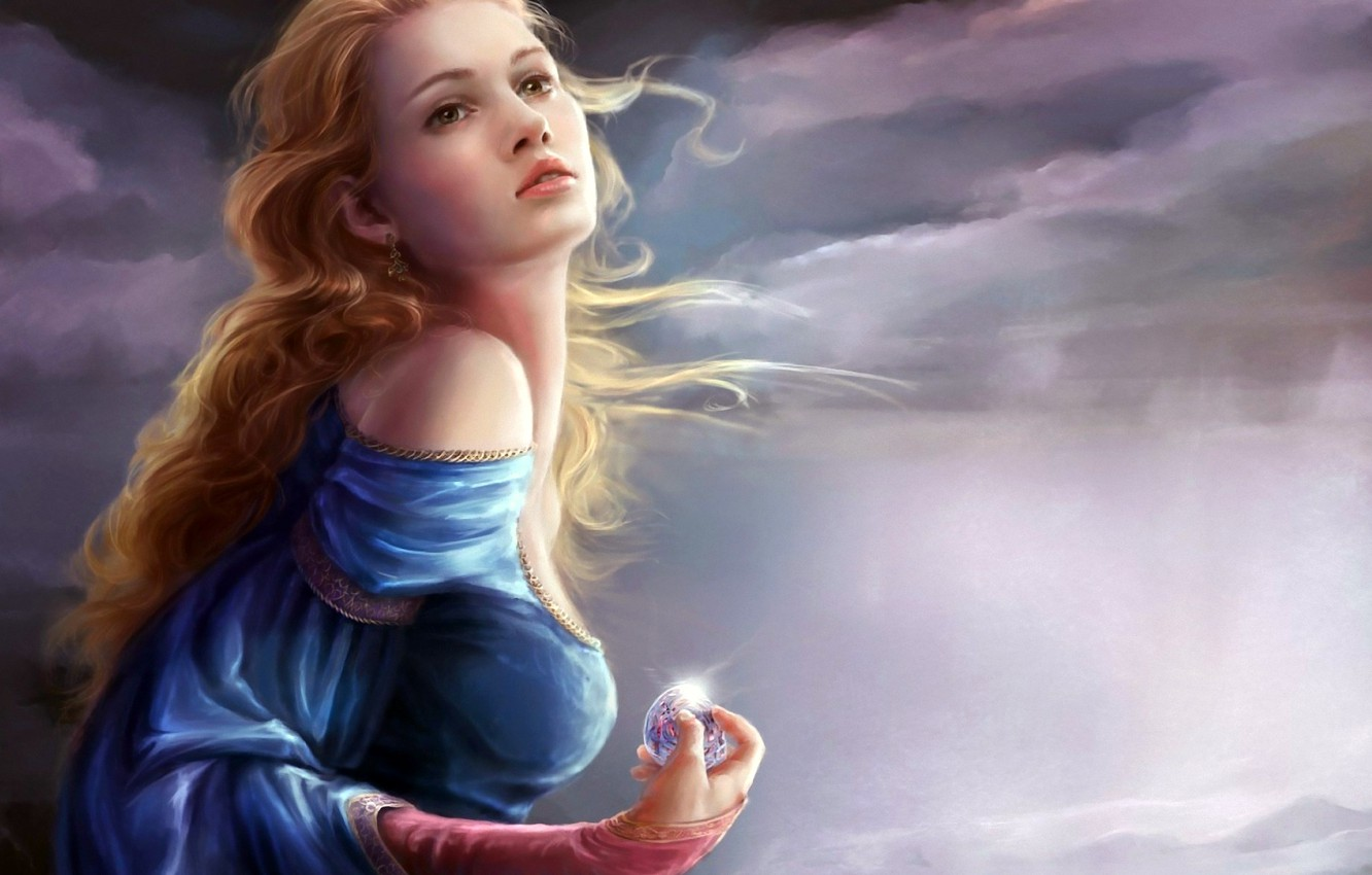 Photo wallpaper the sky, girl, clouds, clouds, the wind, hair, ball, earrings, weather, curls, shoulder, glitters, dress …