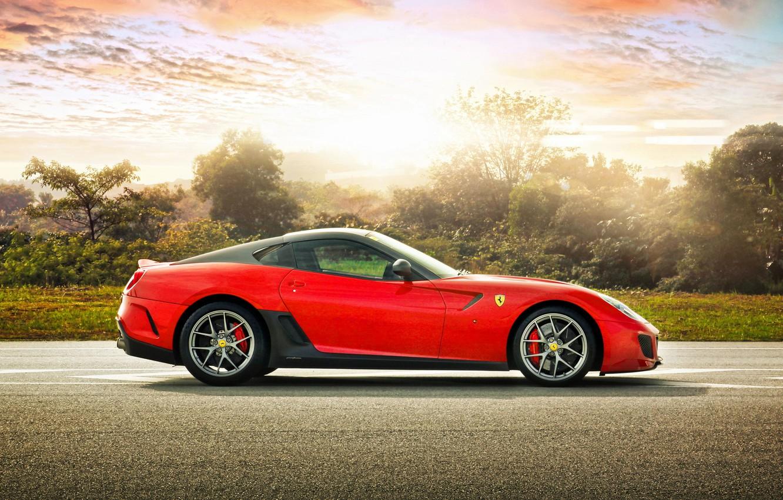 Photo wallpaper trees, sports car, Ferrari, Ferrari 599 GTO