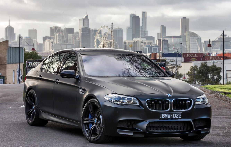 Photo wallpaper black, BMW, BMW, F10, 2015, Sedn