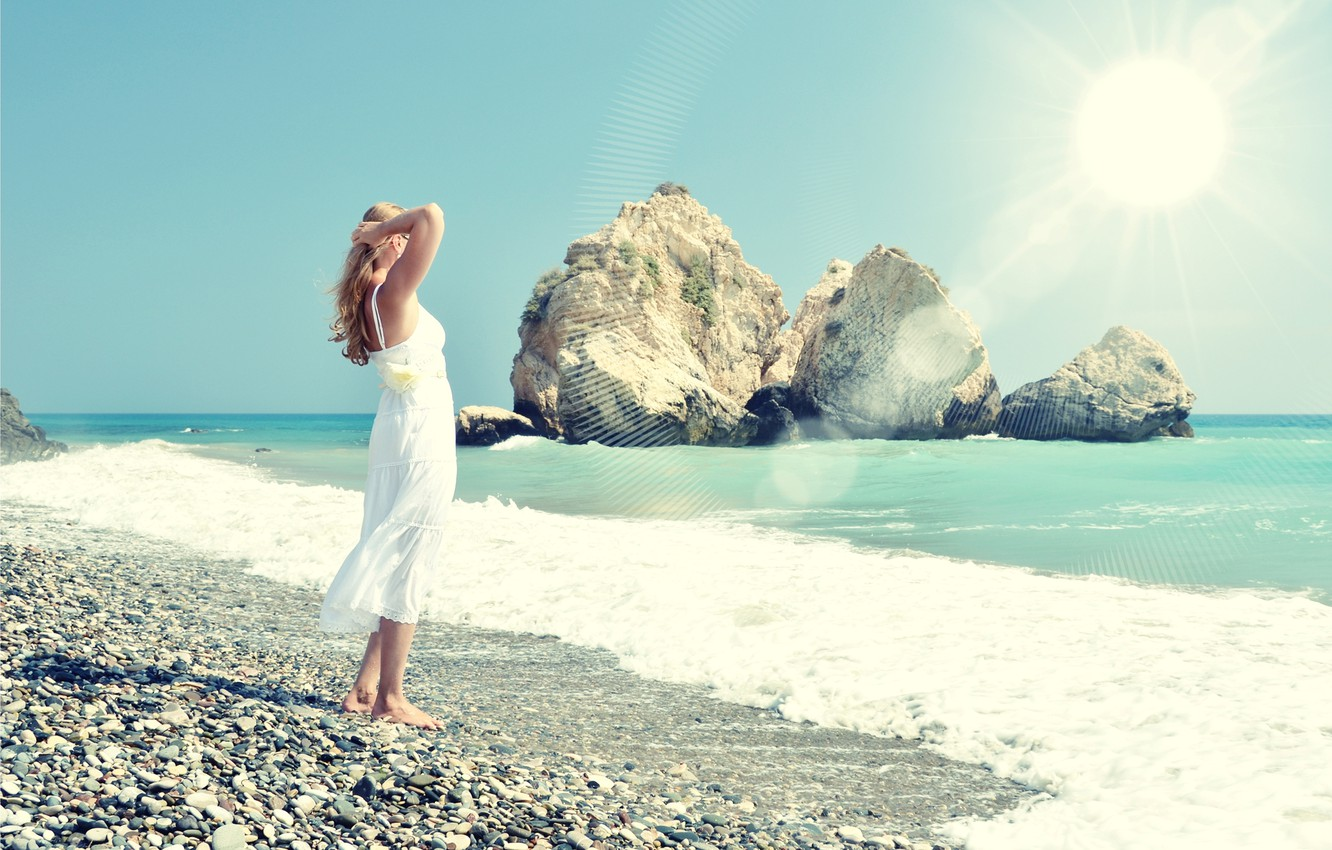 Photo wallpaper sea, beach, summer, girl, the sun, stay, dress, summer, beach, vacation, sea, sun, holiday, vacation