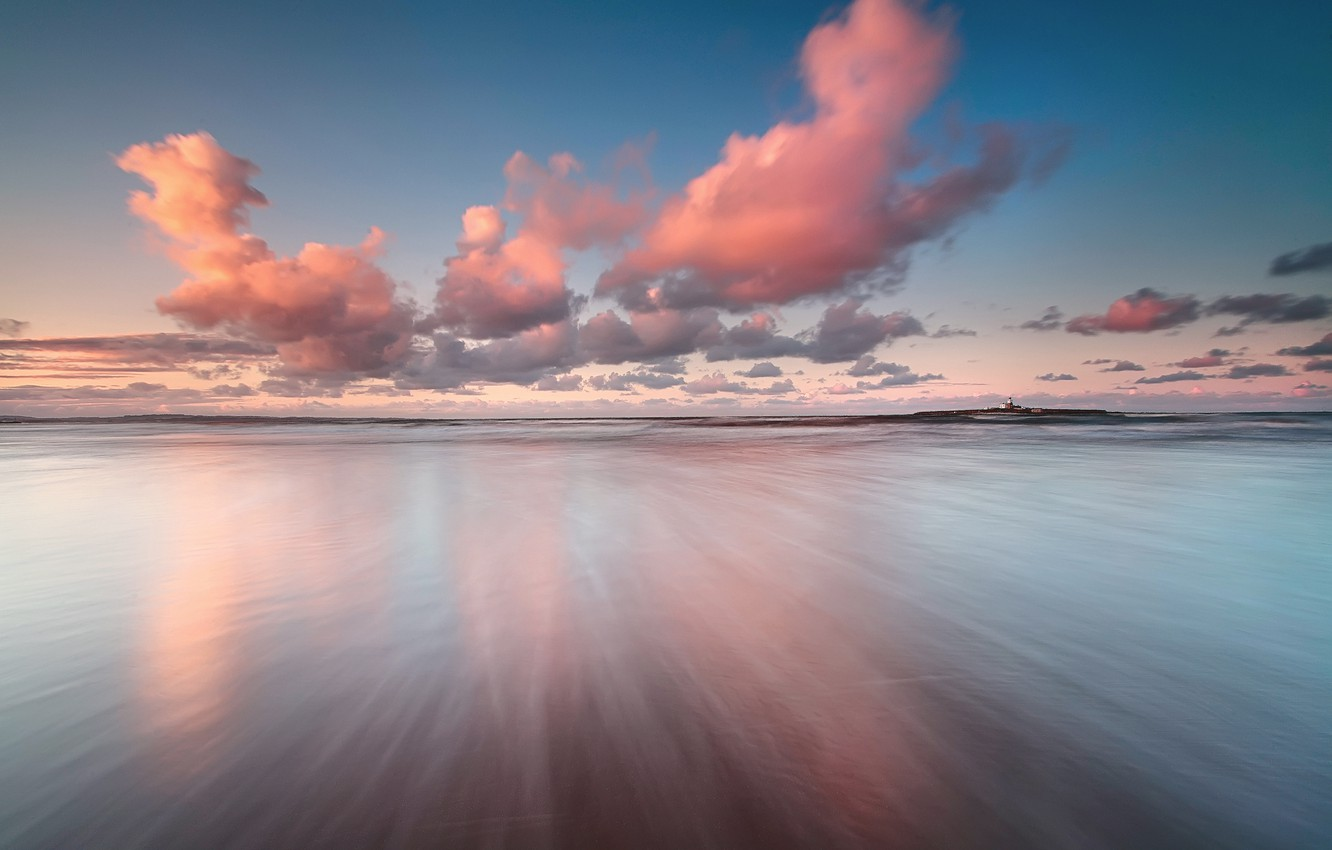 Photo wallpaper sea, the sky, clouds, reflection