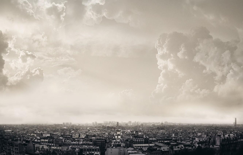 Photo wallpaper clouds, the city, Paris