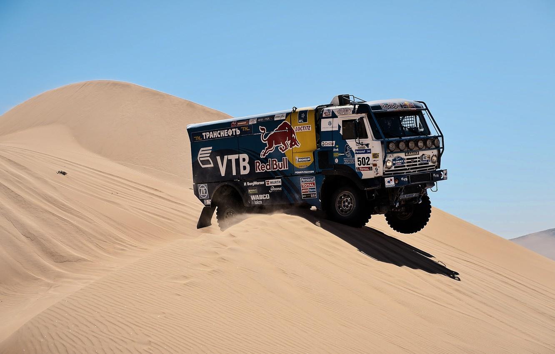 Photo wallpaper desert, truck, rally, KAMAZ, kamaz, Paris-Dakar, KAMAZ-master
