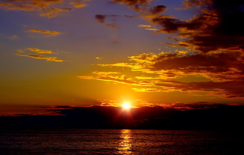 Photo wallpaper sea, clouds, sunset