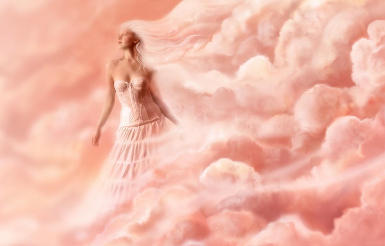 Photo wallpaper women, clouds, pink