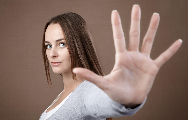 Photo wallpaper sexy, model, look, hand, Stop