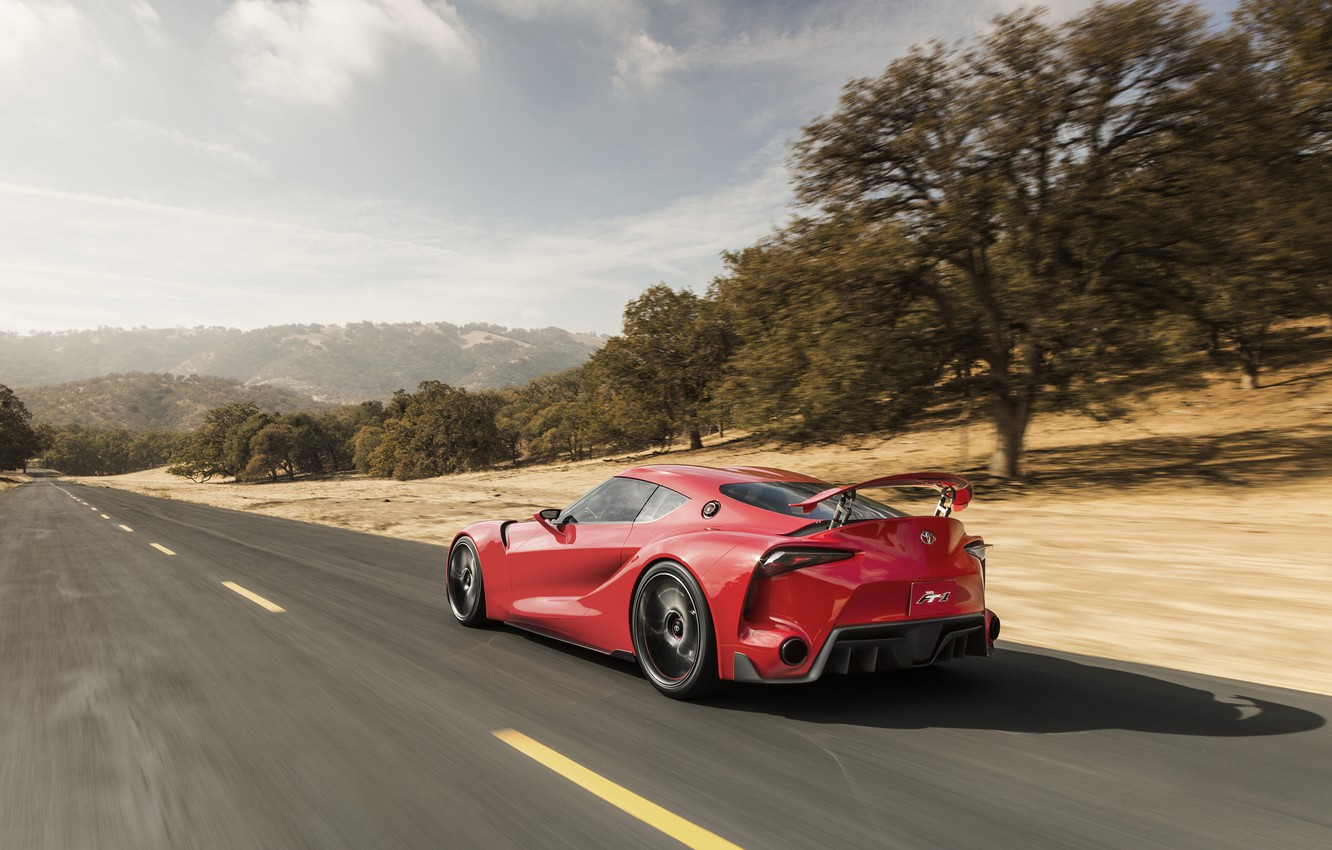 Photo wallpaper car, Concept, Toyota, road, wallpapers, speed, nice, FT-1