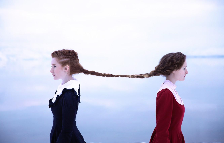 Photo wallpaper hair, braid, link, Lichon, two girl