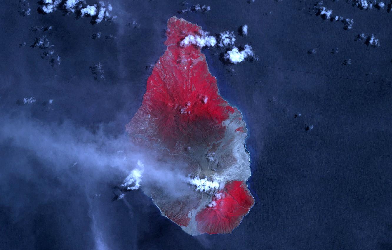 Photo wallpaper photo, smoke, mountain, the volcano, couples, NASA