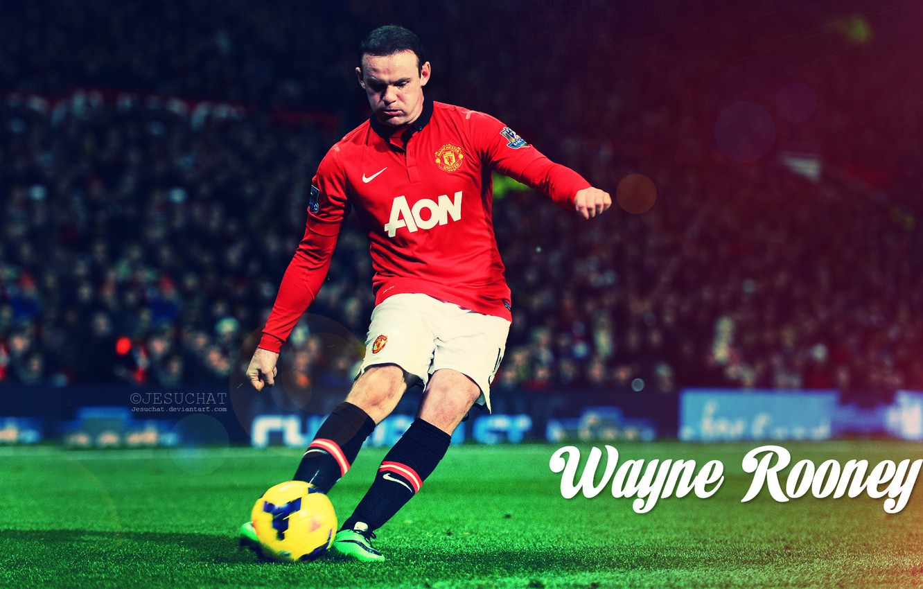 Photo wallpaper red, devil, football, Rooney, Wayne, Manchester united