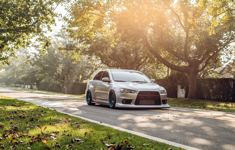 Photo wallpaper road, trees, tuning, Lancer, Mitsubishi, mitsubishi lancer evo x