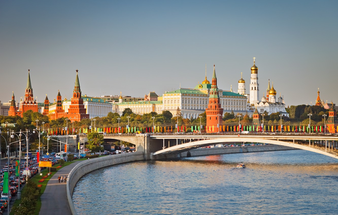 Photo wallpaper bridge, Moscow, The Kremlin, promenade, Moscow, The Moscow river