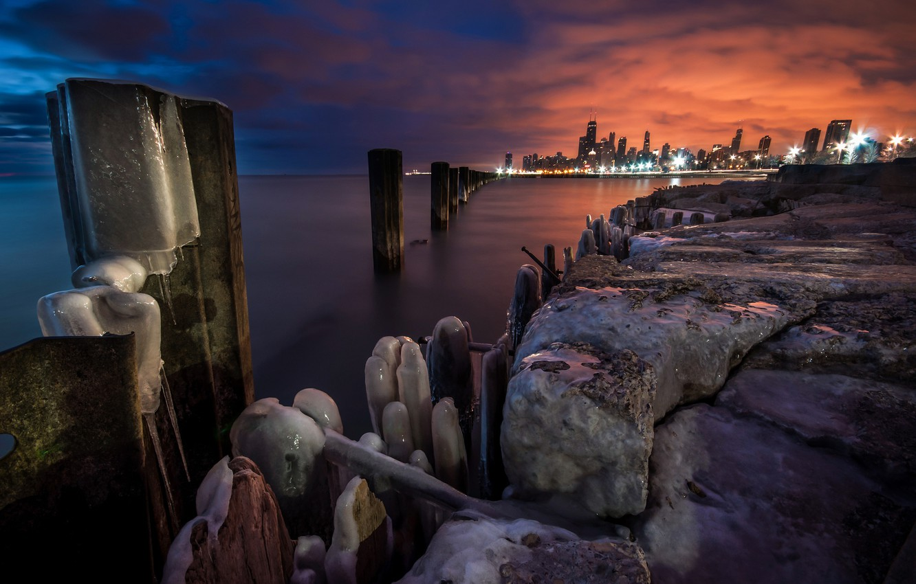 Photo wallpaper sunset, lights, the evening, Chicago, the end of winter