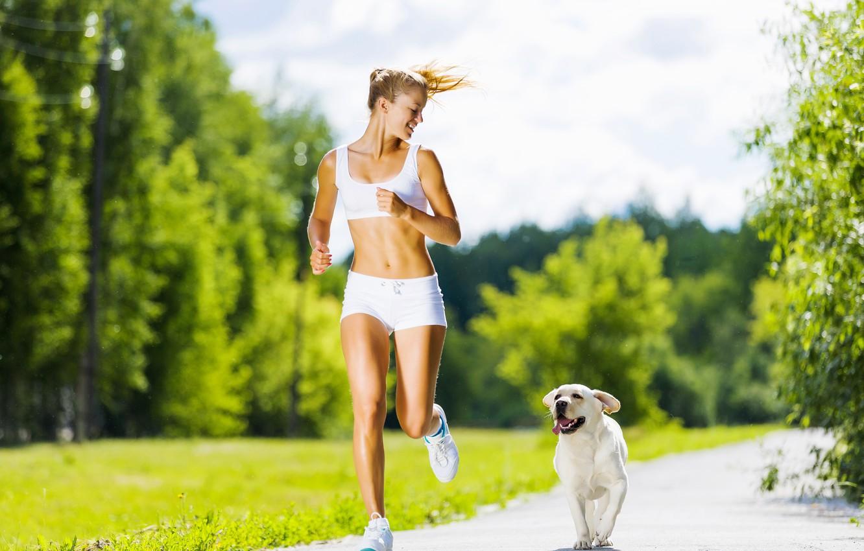 Photo wallpaper woman, dog, running, physical activity