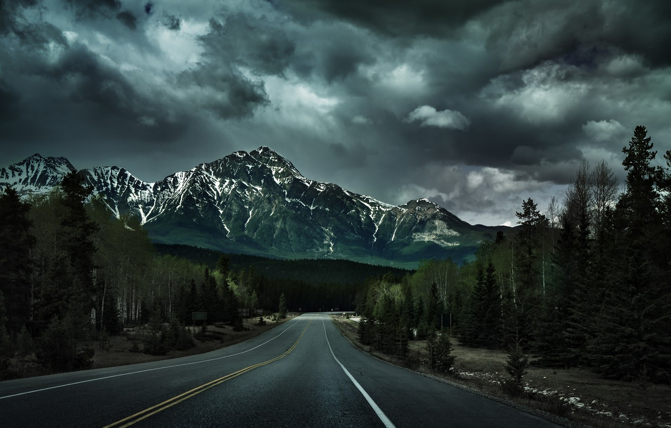 Photo wallpaper road, forest, trees, nature, mountain, Canada