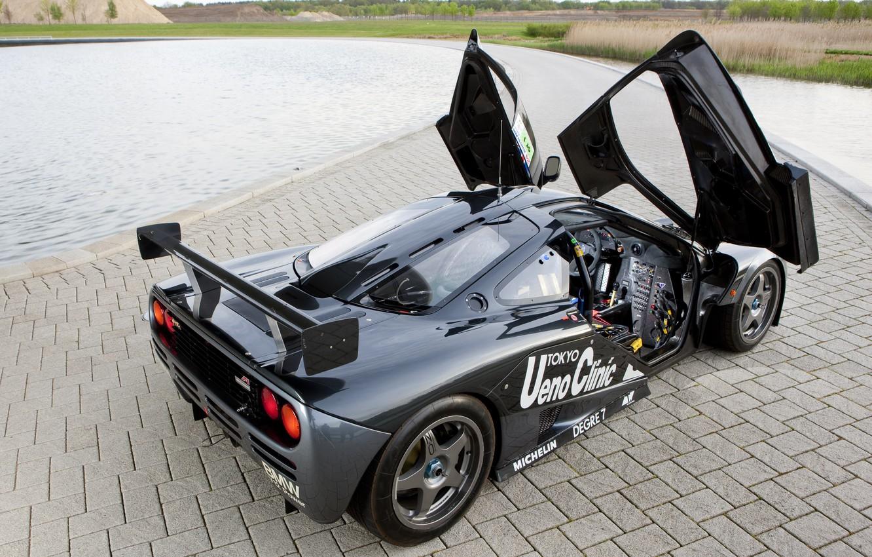 Photo wallpaper black, McLaren, the car, hypercar, racing