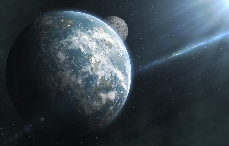 Photo wallpaper space, stars, planet, satellite, the sun's rays