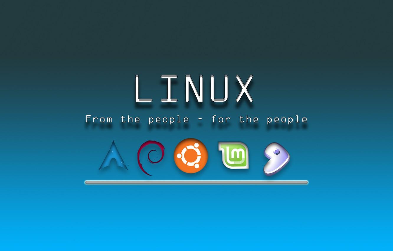 Photo wallpaper Linux, laptop, system