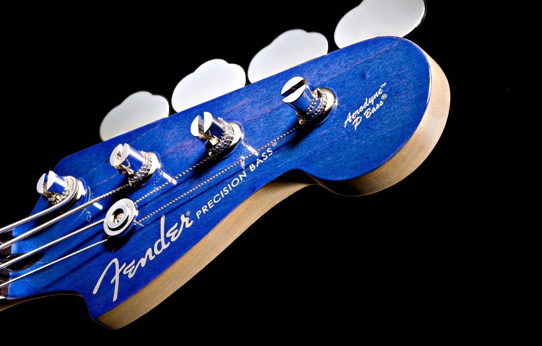 Wallpaper Fender Blue Background Black Guitar Macro