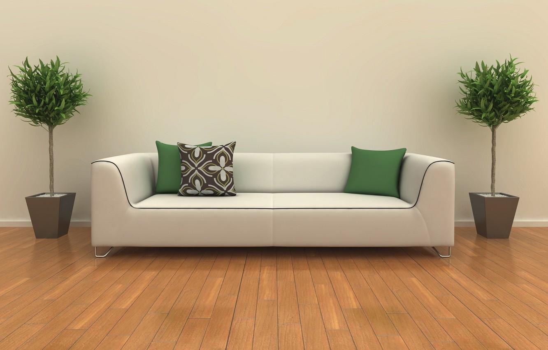 Photo wallpaper white, design, room, sofa, interior, plants, pillow, green, design, room, interior