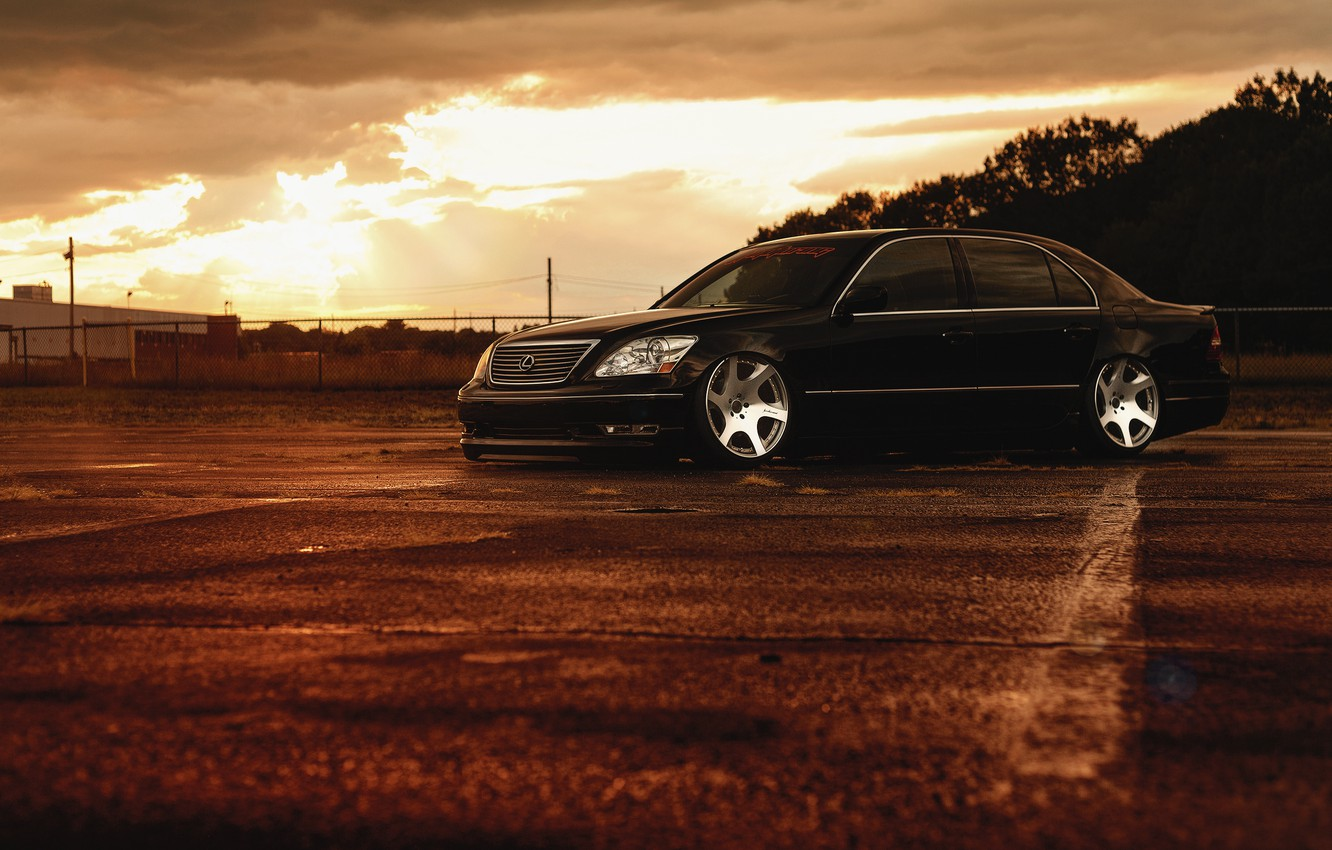 Photo wallpaper Lexus, Front, Black, Color, Sunset, JDM, Stance, Low, LS 430