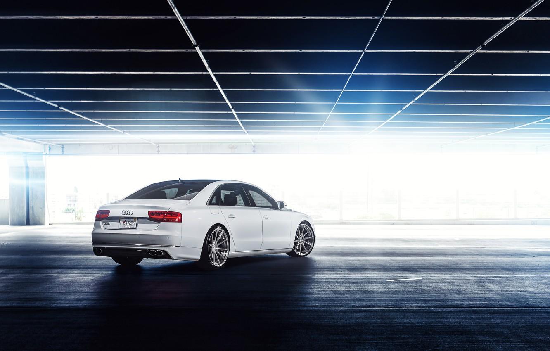 Photo wallpaper Audi, Parking, white, Blik, rear, A8 L