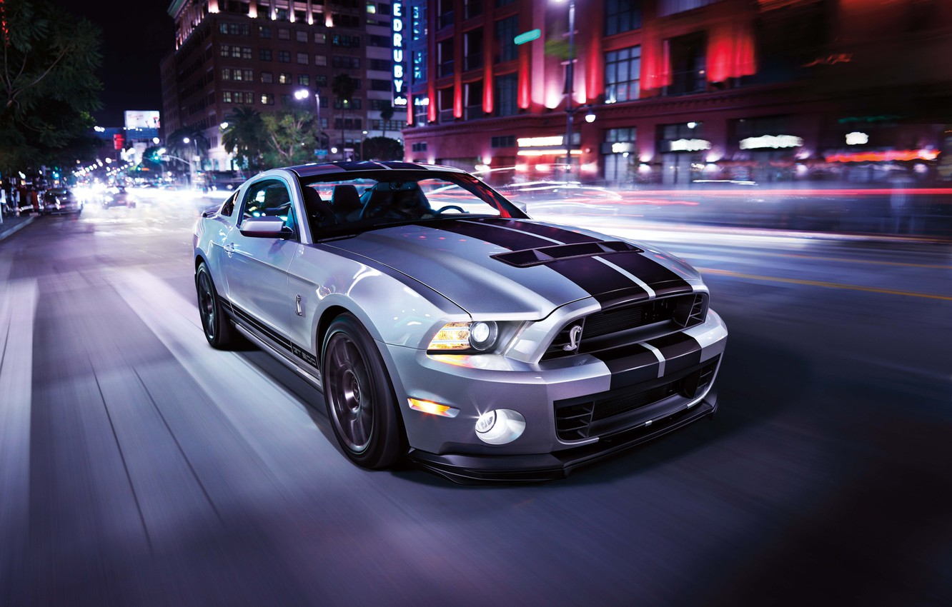 Photo wallpaper road, car, light, the city, strip, speed, mustang, sports car, ford, shelby, megapolis, gt500