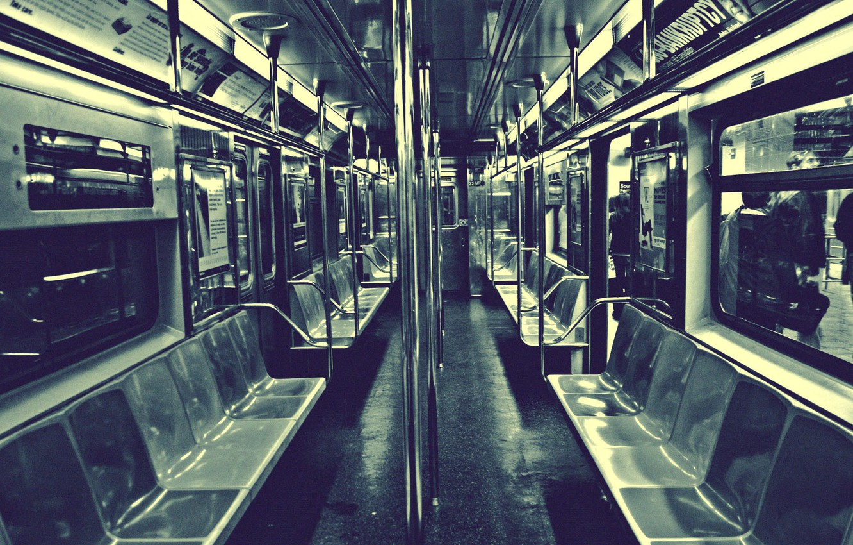 Photo wallpaper New York, Metro, Railings, Seat, The car