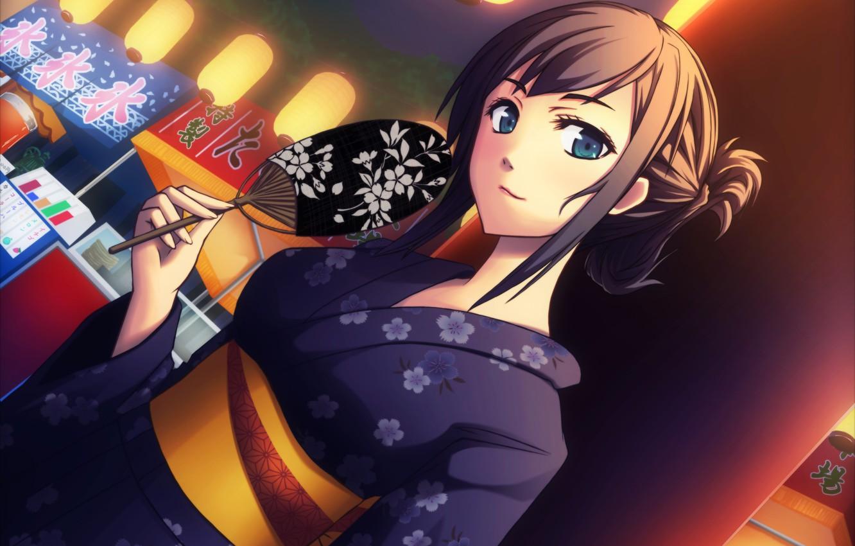 Photo wallpaper girl, fan, art, kimono, yumemizuki