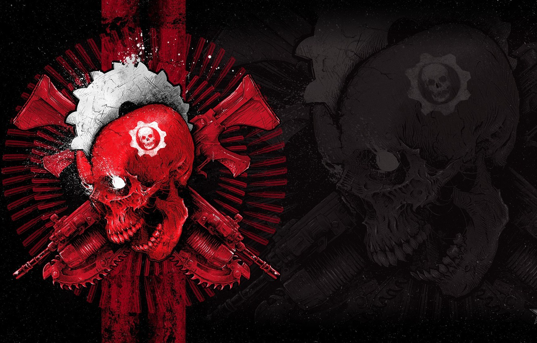 Photo wallpaper Skull, Emblem, Gears of War, Weapons, Xbox One, Microsoft Studios, Gears of War 4, The …