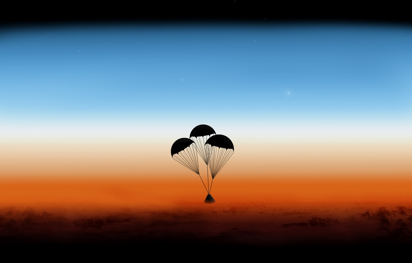 Photo wallpaper the atmosphere, capsules, Orion, parachutes